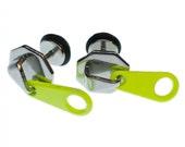 Reißverschluss Zipper Zip Ohrstecker Miniblings Stecker Ohrringe silber neon
