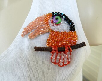 Large Toucan Swarovski and Seed Bead Art to Wear Brooch Pin OOAK INBW