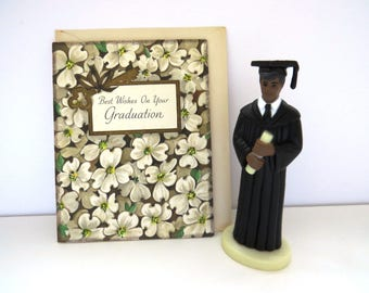 Vintage African American Male Graduate Cake Cupcake Topper - Black Cap Gown - High School College Graduation Decoration Party Table Decor