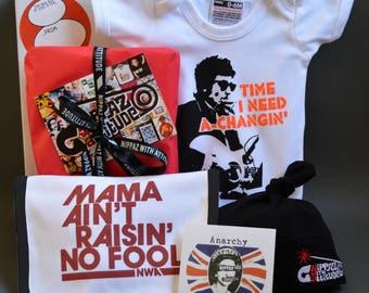 Bob Dylan Baby Gift Box - Time I Need A Changin' Onesie, Baby Beanie Hat, Mama Baby Bib, Sticker & Greeting Card - fun Christening Gift