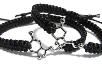 Matching Serotonin Bracelets, Couples Bracelets, Chemistry, Molecule, Gift for Chemist, Anniversary Gift, Boyfriend Gift, Girlfriend Gift