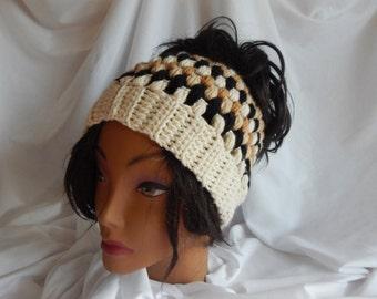 Messy Bun Hat Pony Tail Hat - Crochet Woman's Fashion Hat - Camel, Black, Beige