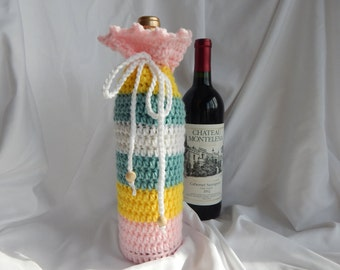 Wine Bottle Cover - Crochet Wine Cozy -  Pink Yellow Green with Wood Beads