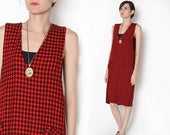ON SALE Vintage 90s Oversized Red Black houndstooth Overall Dress