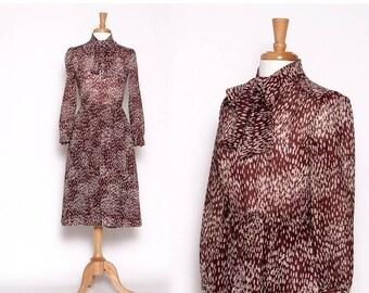 HUGE SALE Vintage 1990s Brown Tan Dot Long Sleeve Knee length Dress with Ascot