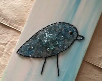 Blue bird acrylic painting - mixed media - 7x18