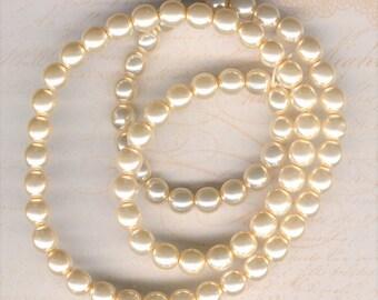 8mm Jablonex Ivory Czech Glass Pearl Beads, 75 pieces, 8mm Ivory Glass Pearl, Ivory Czech Glass, 8mm Antique Ivory Pearl, 8mm Cream Pearl