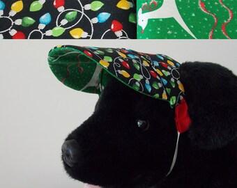 Dog visor, Christmas, reversible (two fabrics), comfortable and colorful. V14