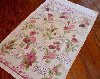 Linen Calendar Towel Vintage Kitchen Towel  1962