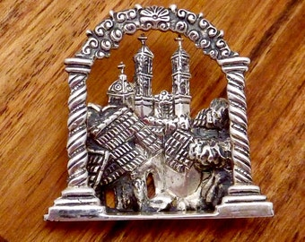 Vintage Marcel Boucher Parisina Taxco Mexican Sterling Silver Church Pin 22713