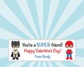 DIY Printable Valentine Treat Bag Toppers - Superhero