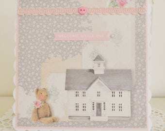 Cottage Chic New Baby Girl Card
