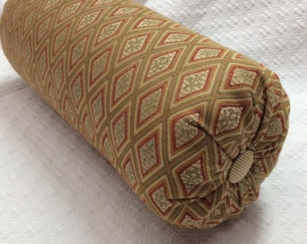 Golden hues classic designer fabric lumbar accent throw lumbar bolster pillow