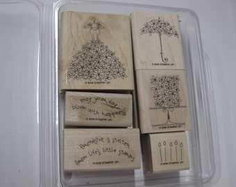 Stampin Up Wood Mounted Rubber Stamp Set - Blooming with Happiness