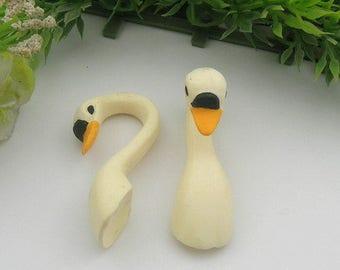 6pcs Lovely Rice white Swan-head Cabochon - Hand Paint(RW-1)