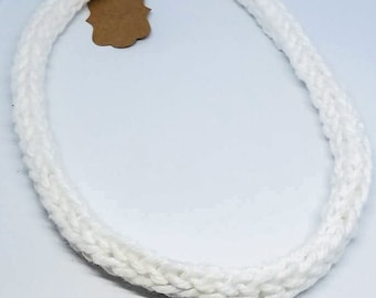 White Cotton Crocheted Necklace - Customization Piece