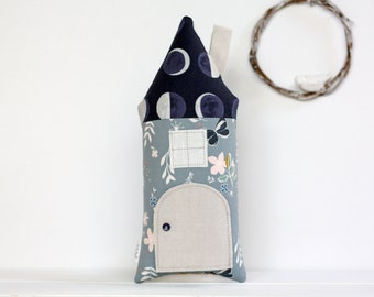 Tooth Fairy Pillow, Tooth Fairy House, Moon, Floral, Blue, Tooth Fairy Girls, Stuffed Toy, House Pillow, Girls, Children, Keepsake, Toys