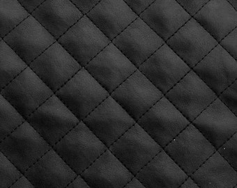 "Suede Faux Black Quilted auto headliner headboard trim seat chair fabric with Foam Backing Upholstery 58"" Wide"