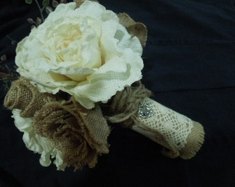 Burlap Wedding Bridal Bouquet. Ivory Khaki Tan Rose Baby Tears Lace Silver heart charm. Rustic Bride's Silk Flowers Barn Country Shabby Chic