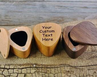 ONE CUSTOM ENGRAVED Guitar Pick Box - (Choose Wood Type) -Guitar Picks Shape Box - Guitar Pick Box - Custom Wooden Box - Magnetic lid