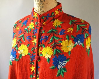 Fabulous 1940s Vintage Bright Red Wool Poncho Cape Chain Stitch Embroidered Flowers Green, Blue, Yellow