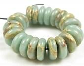 Aqua Terra Jasper Smooth Thin Rondelle Beads - 10mm x 3mm - 22 beads - B6811
