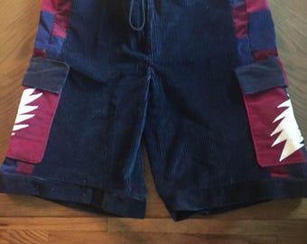 "Grateful ""Dead U.S."" Blues hippie style patchwork panel lightning bolt shorts"
