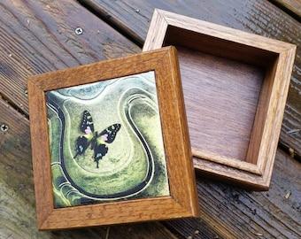 Green dream butterfly wooden tile box