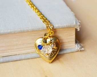 Gold Heart Locket with Blue Beads Necklace