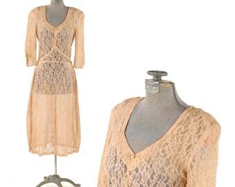 Vintage 1930's Pale Peach Sheer Art Deco Floral Lace Puffy Sleeve Bias Cut Romantic Day Dress XS
