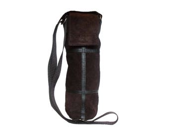 Gift idea! Recycled  suede bag for  wine