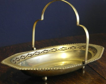 antique silver pate freat work fruit bread basket bowl