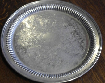 vintage etched round good size drinks serving tray