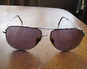 Vintage TURA Military Style Sunglasses Wire Temples & Case