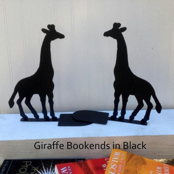 Giraffe bookends, Pair of Giraffe Bookends, Metal Giraffes, Black bookends, Metal art bookends