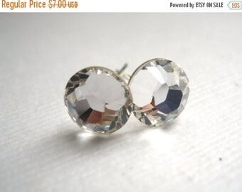 SALE Swarovski Crystal Stud Earrings, Crystal Earrings, Post Earrings, Silver Plated, White, Clear, Transparent, Bridesmaid Gifts