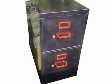 Vintage file cabinet,  metal, brushed and polished steel  cabinet with two drawers and orange hardware made to order