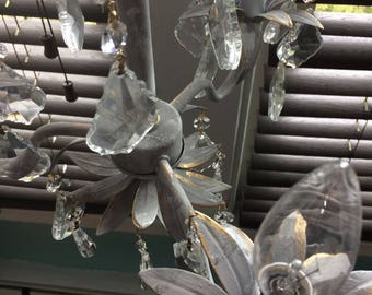 French Nordic 3 light flower grey electric chandelier with prisms, plug in!
