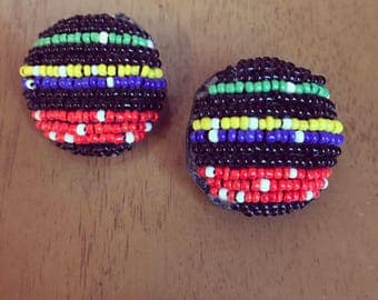 Vintage colorful beaded clip-on earrings