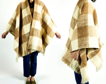 HOLIDAY SALE Vintage 1960s Beige Tan Cream Buffalo Plaid Wool Fringe Blanket Wrap Scarf Any Size