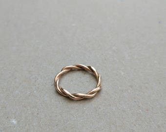 9ct rose gold twist stacking ring size Q