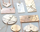 Map Necklace, Map Engraved Necklace, GPS Necklace, Address Necklace Olive Yew-1308