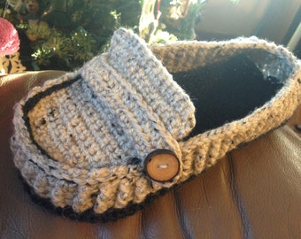 Crochet Men's Loafer Slippers - Men's Slippers - Crochet Loafers
