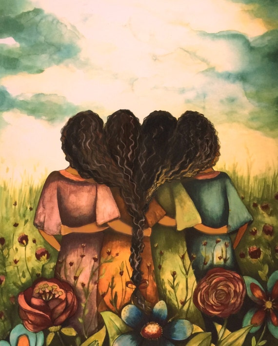 The four sisters curly hair best friends brisdemaid present  art print