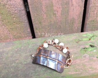 Copper Fold Form Bracelet with Pearls