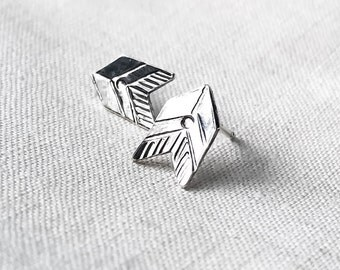 Aztec Chevron Stud Earrings // Sterling Silver