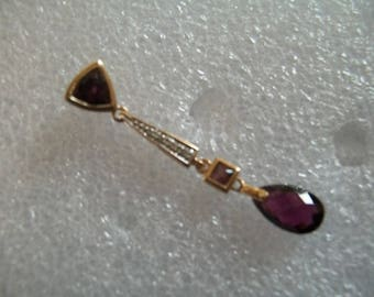 Antique Art Nouveau 14K Gold Amethyst & Diamond Pendent ~~FREE SHIP~~