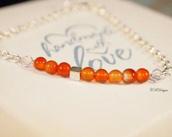 Carnelian Beaded Bracelet, Dainty Chain Bracelet, Stacking Bracelet, Minimalist jewelry, Beaded Chain Bracelet, Bar Bracelet, Gift for Her