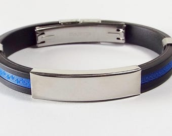 Personalized ID Custom Engraved Black Rubber ID Bracelet 8 Inch Length with Blue Greek Key Insert - Hand Engraved