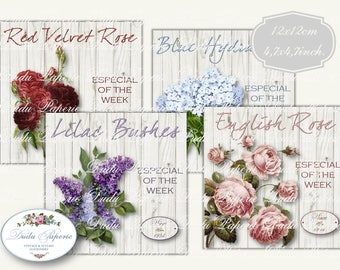 WOODEN SIGN Garden FLOWERS, Botanical, Digital, Collage Sheet, 4,7x4,7inch.